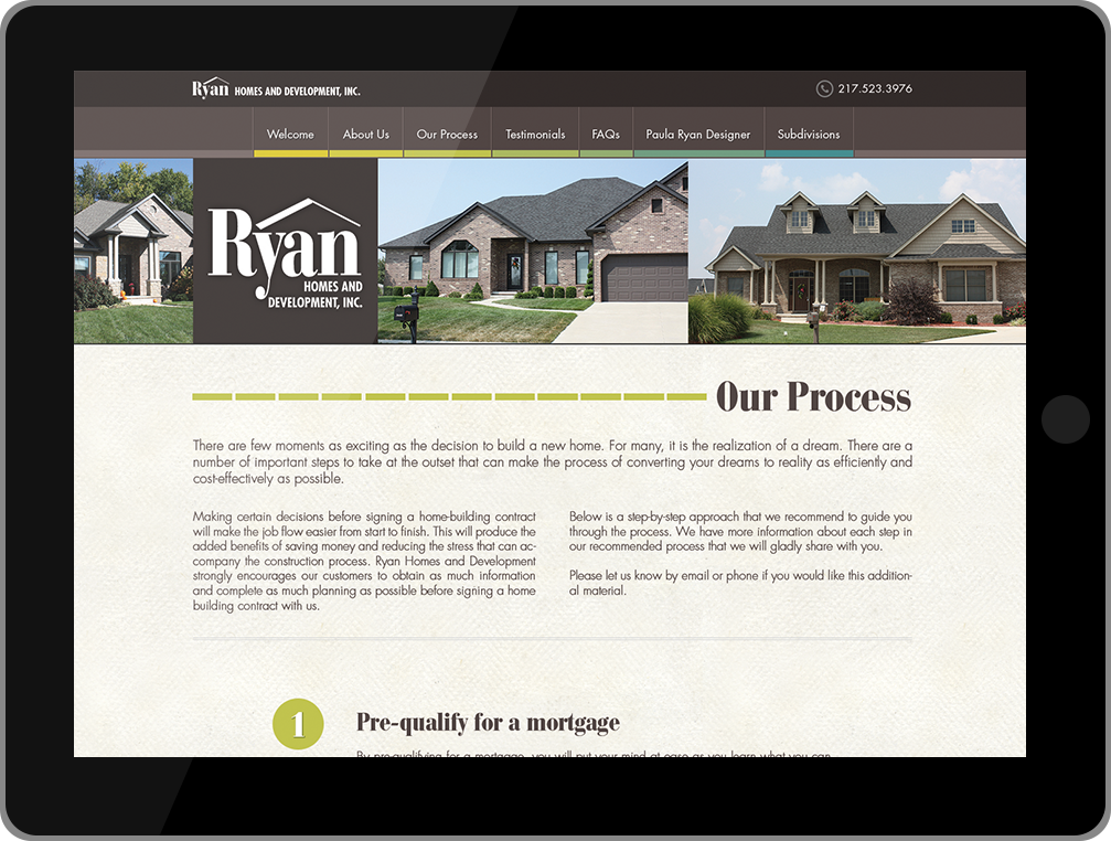 Ryan Homes and Development tablet website